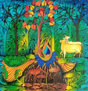 KRISHNA N PEACOCK by Arti Vohra, Expressionism Painting, Acrylic on Canvas, Green color