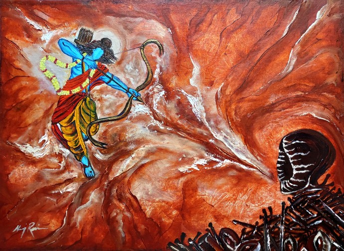 Lord Rama-Victory Over Evil- Kitne Ravan Marenghe by Neeraj Raina, Expressionism Painting, Acrylic on Canvas, Brown color