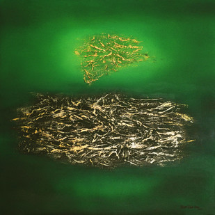 EMERALD ISLES by Poonam Rana, Abstract Painting, Acrylic on Canvas, Green color