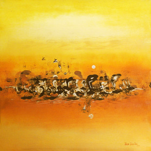 TWITTER by Poonam Rana, Abstract Painting, Acrylic on Canvas, Orange color