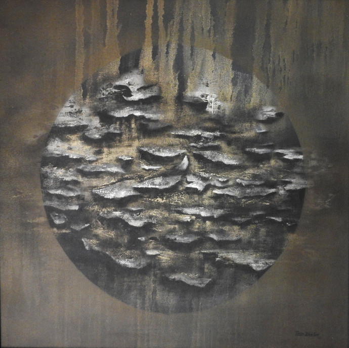 HARBOUR by Poonam Rana, Abstract Painting, Acrylic on Canvas, Gray color