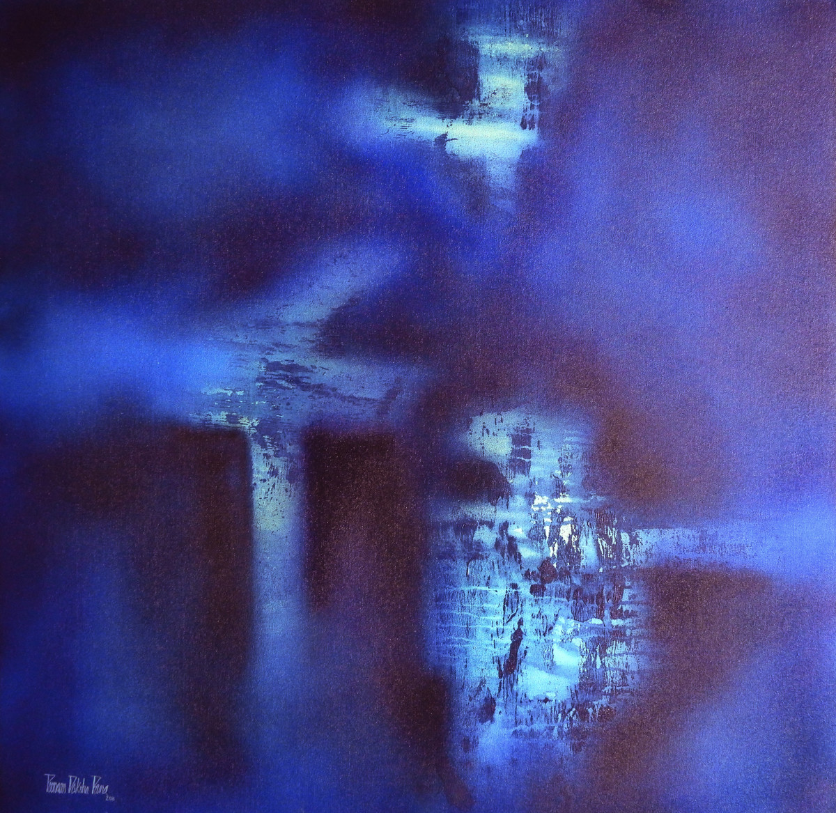 BLUE HORIZON by Poonam Rana, Abstract Painting, Acrylic on Canvas, Blue color