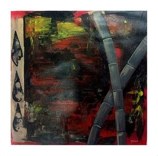 ABSTRACT ART : BAMBOO TREE by PARESH MORE, Abstract Painting, Acrylic on Canvas, Brown color