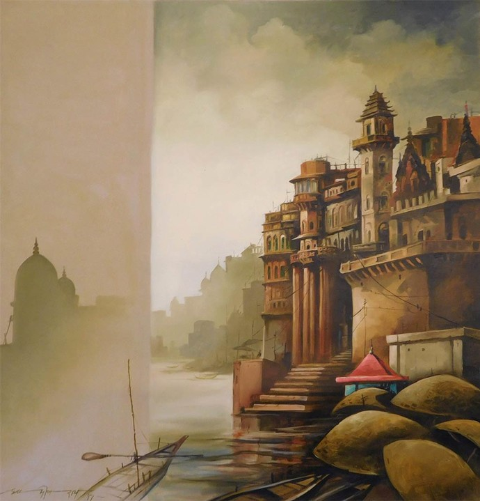 Banaras by Sudip Roy, Impressionism Painting, Oil on Canvas, Beige color