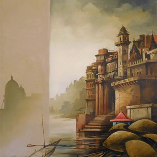 "Banaras, Oil on Canvas, Red, Yellow, Brown Colours by Contemporary Artist ""In Stock"" by Sudip Roy, Impressionism Painting, Oil on Canvas, Beige color"