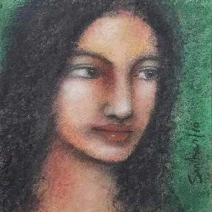 "Radha, Mixed Media on Paper, Green, Black, Cream Colours by Modern Artist ""In Stock"" by Suhas Roy, Expressionism Painting, Mixed Media on Paper, Gray color"