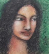 Radha by Suhas Roy, Expressionism Painting, Mixed Media on Paper, Gray color