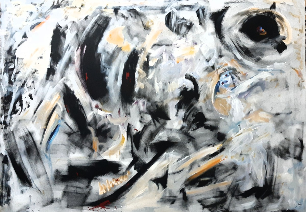 Memoir by Debajyoti Roy, Abstract Painting, Acrylic on Canvas, Gray color