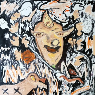 Durga by Debajyoti Roy, Pop Art Painting, Acrylic on Canvas, Gray color