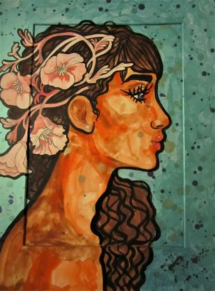 Girl with beautiful thoughts III by Suruchi Jamkar, Pop Art Painting, Watercolor and charcoal on paper, Brown color