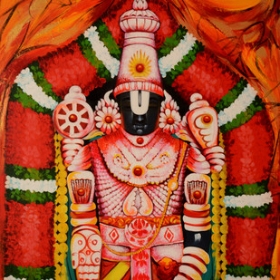 Balaji by Sachindranath Jha, Traditional Painting, Acrylic on Canvas, Brown color