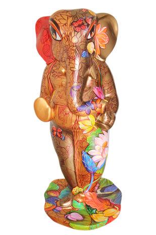 Ganpati - 1 by Sachindranath Jha, Art Deco Sculpture | 3D, Fiber Glass, White color