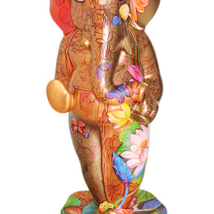 Ganpati - 1 by Sachindranath Jha, Art Deco Sculpture | 3D, Fiber Glass, White color