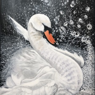Splash by Dimple Gupta, Impressionism Painting, Acrylic on Canvas, Gray color