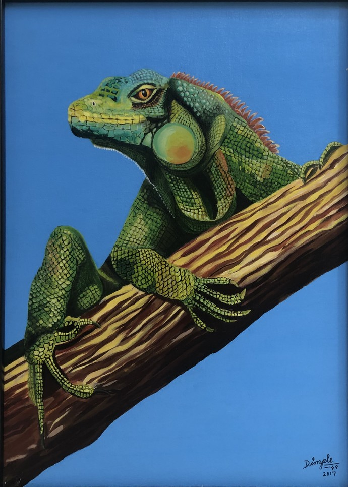 Stare by Dimple Gupta, Photorealism Painting, Acrylic on Canvas, Blue color