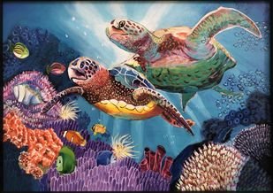 Floating Turtles by Dimple Gupta, Fantasy Painting, Acrylic on Canvas, Blue color
