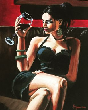 Me myself and I by Kangana Vohra , Photorealism Painting, Acrylic on Canvas, Brown color
