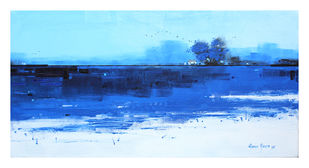 Blue Lake by Gangu Gouda, Abstract Painting, Acrylic on Canvas, Cyan color