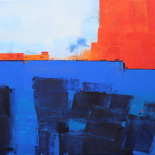 Abstract Landscape 024 by Gangu Gouda, Abstract Painting, Acrylic on Canvas, Blue color