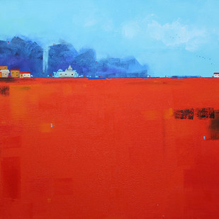Abstract Landscape 025 by Gangu Gouda, Abstract Painting, Acrylic on Canvas, Red color