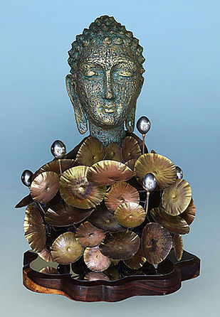 Emerge in nature by Dinesh Singh, Art Deco Sculpture | 3D, Brass, Cyan color