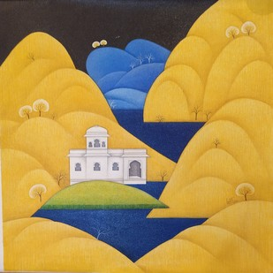 My City by Lalit Sharma, Folk Painting, Acrylic on Canvas, Orange color