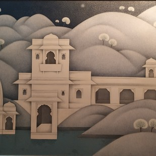 My City by Lalit Sharma, Fantasy Painting, Oil on Canvas, Brown color