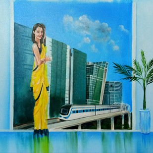 Indian Woman Today (Pia Singh, Ex Director, DLF) by Herendra Swarup , Pop Art Painting, Acrylic on Canvas, Cyan color