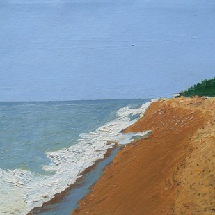 at the beach by Anup B U, Expressionism Painting, Oil on Canvas, Cyan color