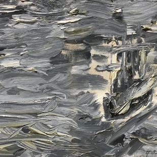 stormy waters by Anup B U, Abstract Painting, Oil on Canvas, Gray color