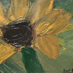 sunny day flower by Anup, Expressionism Painting, Oil on Canvas, Green color