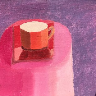 tea cup by Anup, Expressionism Painting, Oil on Canvas, Purple color