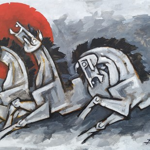 Horses 6 by Balbir Singh, Expressionism Painting, Acrylic on Board, Gray color