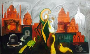 SECULAR INDIA by KAMINI MINOCHA, Expressionism Painting, Oil on Canvas, Brown color
