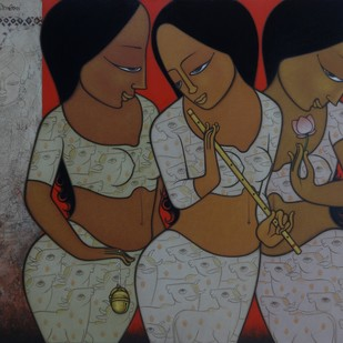 CELEBRATIONS by Hitendra Singh Bhati, Expressionism Painting, Acrylic on Canvas, Brown color