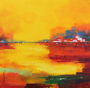 Abstract Landscape 027 (Lake View) by Gangu Gouda, Abstract Painting, Acrylic & Ink on Canvas, Orange color