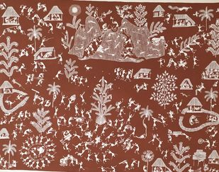 Holi by Balu Jivya Mashe, Folk Painting, Acrylic on Canvas, Brown color