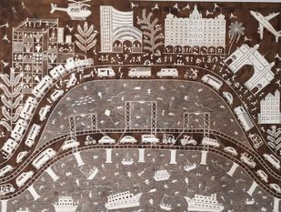 Bombay City by Amit Mahadev Dombhare, Geometrical Painting, Cow dung on Cloth, Brown color