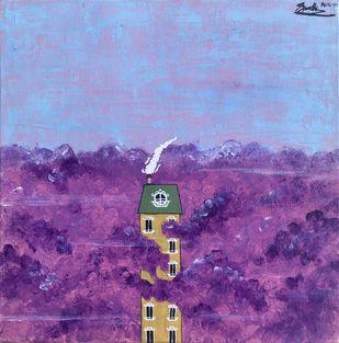 HALO I by Spoorthi Marakkini, Expressionism Painting, Acrylic on Canvas, Purple color