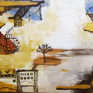 Vision 2 by riddhima sharraf, Expressionism Painting, Acrylic on Canvas, Beige color