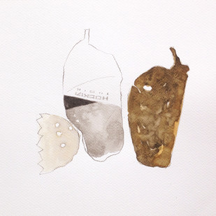 untitled 1480 by Arvind Patel, Illustration Drawing, Watercolor on Paper, Gray color