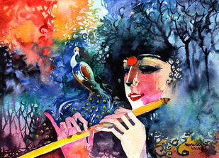 Concert with nature by Mopasang Valath, Impressionism Painting, Watercolor on Paper, Blue color