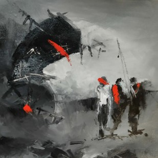"Untitled, Acrylic on Canvas, Black, Grey, Red Colours by Contemporary Artist ""In Stock"" by Dilip Chaudhury, Impressionism Painting, Acrylic on Canvas, Gray color"