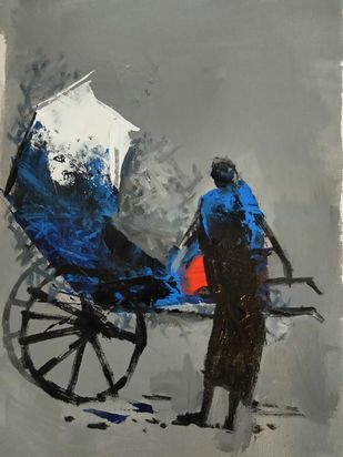 "Untitled, Acrylic on Canvas, Black, Grey, Red, Blue Colours by Contemporary Artist ""In Stock"" by Dilip Chaudhury, Impressionism Painting, Acrylic on Canvas, Gray color"