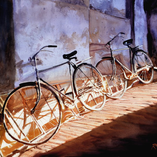 Noon Break by Ramesh Jhawar, Impressionism Painting, Watercolor on Paper, Brown color