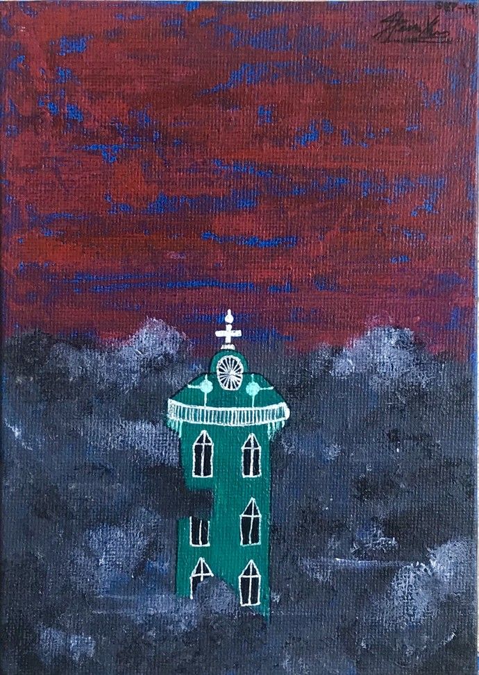 HALO II by Spoorthi Marakkini, Expressionism Painting, Acrylic on Canvas, Blue color