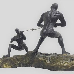 Tug of war by Vernika, Art Deco Sculpture | 3D, Metal, Gray color