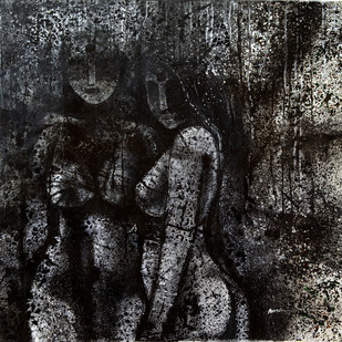 nude by Arun K Mishra, Expressionism Painting, Acrylic on Canvas, Gray color
