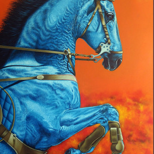 Unstoppable...II by sanket sawant, Expressionism Painting, Acrylic on Canvas, Hot Cinnamon color