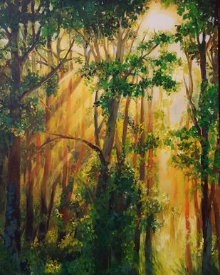 Rise and Shine by Arpita Dasgupta, Impressionism Painting, Acrylic on Canvas, Green color